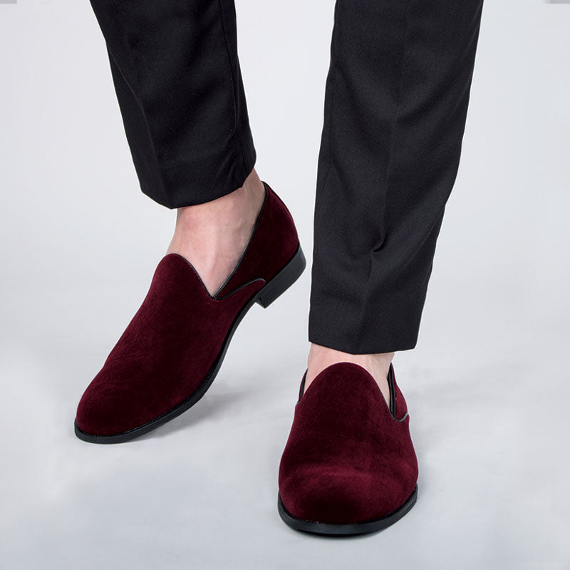 Burgundy Velvet Slip-on Shoes