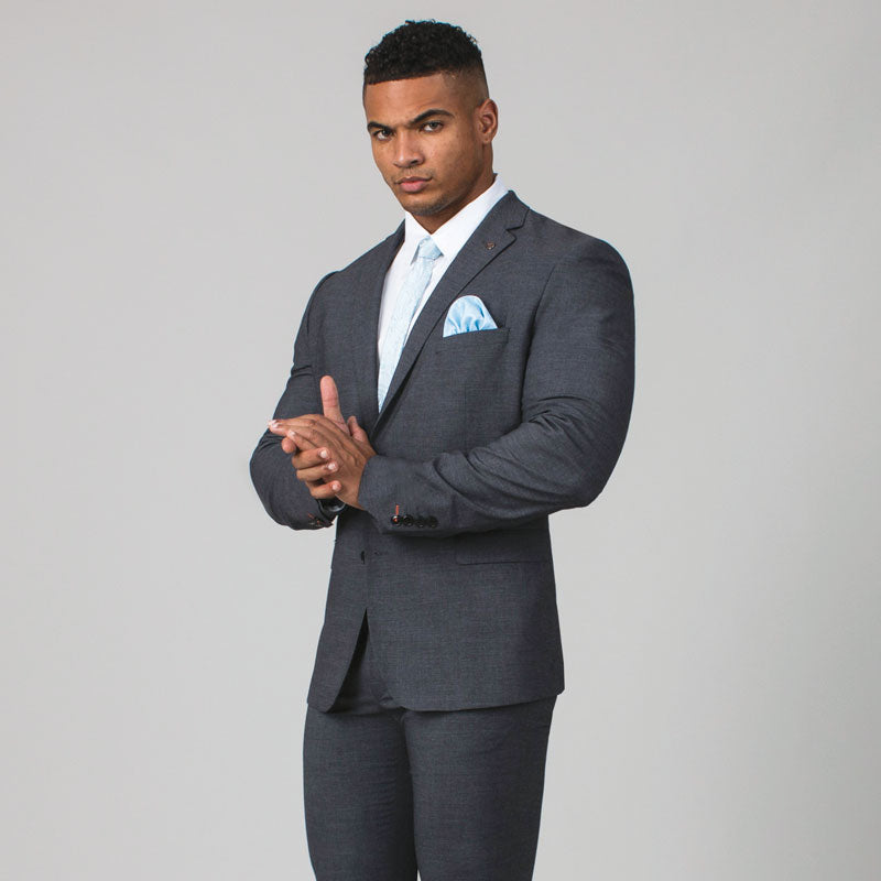 Grey Sharkskin Slim Fit Suit Jacket