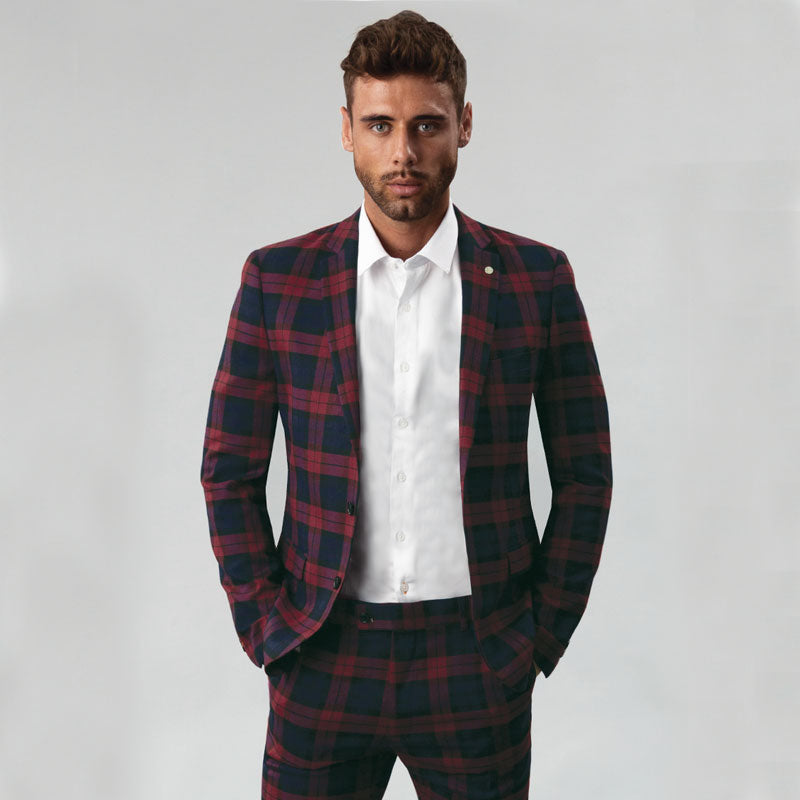 Burgundy Tartan Slim Fit Blazer