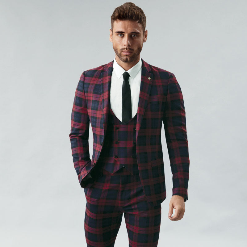 Burgundy Tartan Muscle Fit Blazer