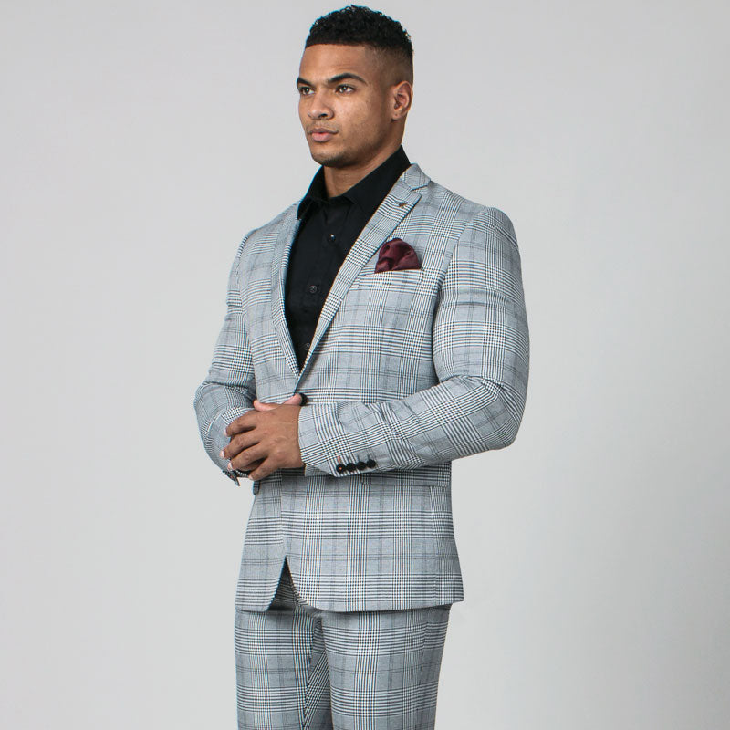 Black & White Prince of Wales Check Slim Fit Suit Jacket