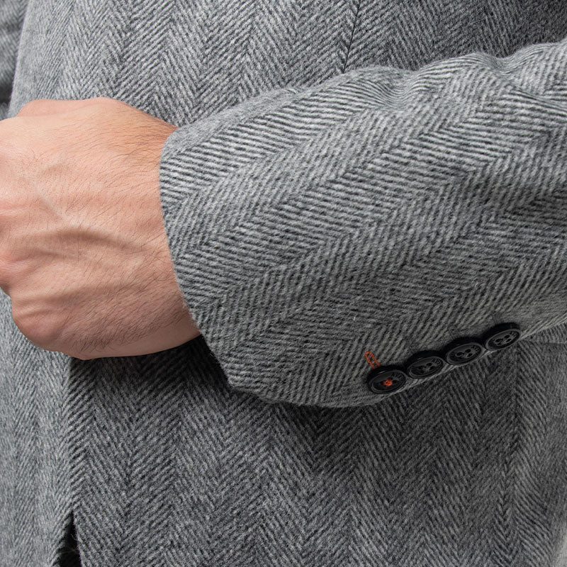 Charcoal Grey Herringbone Tweed Skinny Fit Suit Jacket