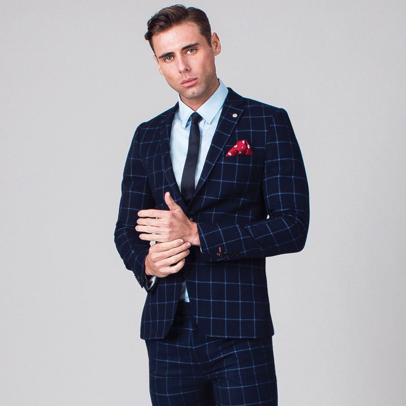 Navy with Light Blue Windowpane Check Skinny Fit Suit Jacket