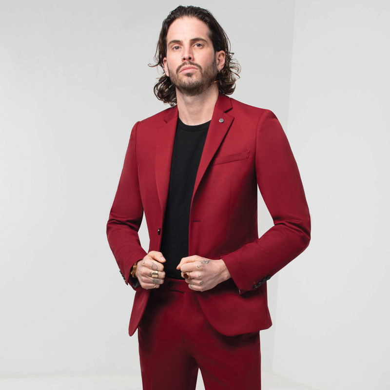 Chilli Red Skinny Fit Suit Jacket