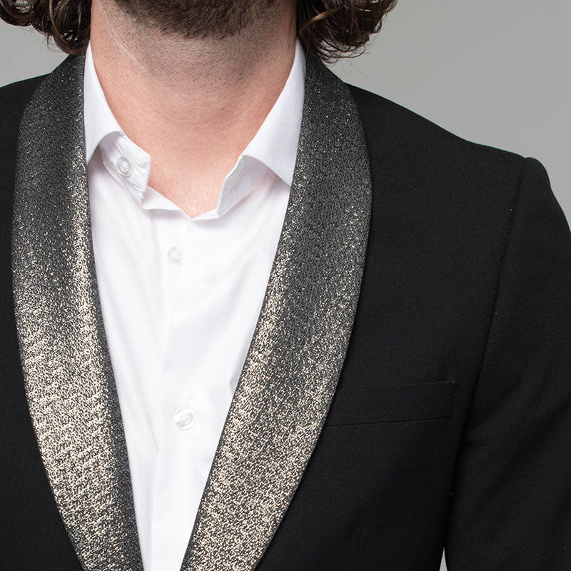Black Skinny Fit Tuxedo Jacket with Contrast Silver Shimmer Lapel