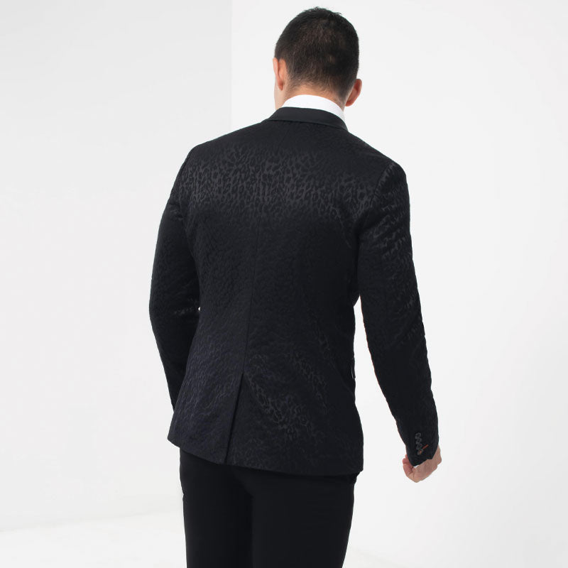 Black Animal Print Jacquard Skinny Fit Tuxedo Jacket