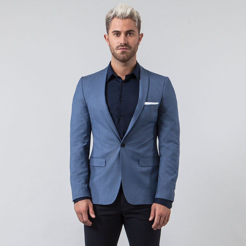 Marl Blue Muscle Fit Blazer