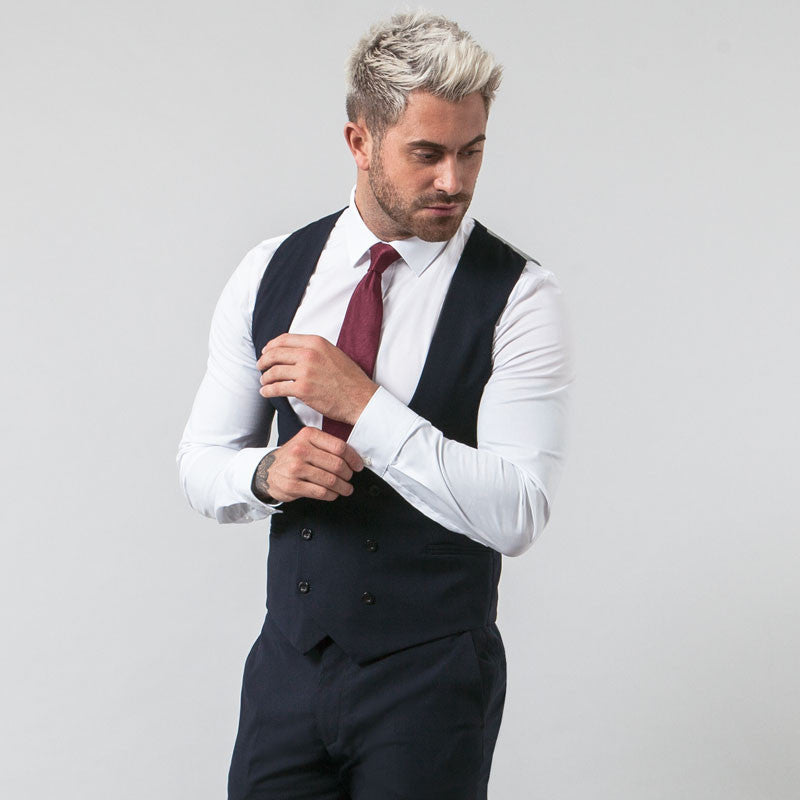 Navy Double Breasted Waistcoat
