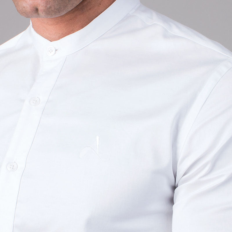 White Grandad Collar Slim Fit Shirt