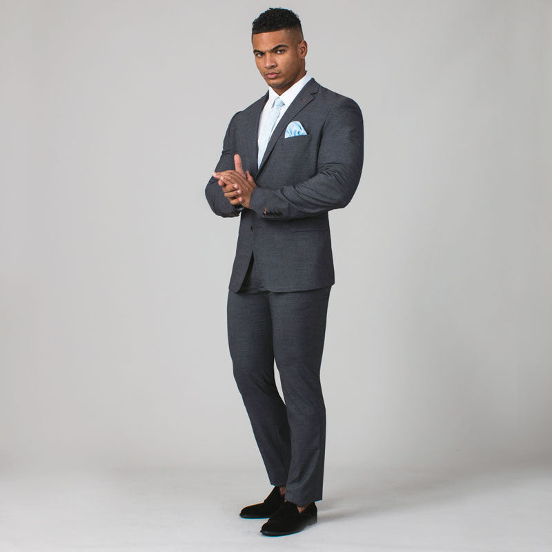 Grey Sharkskin Muscle Fit Suit