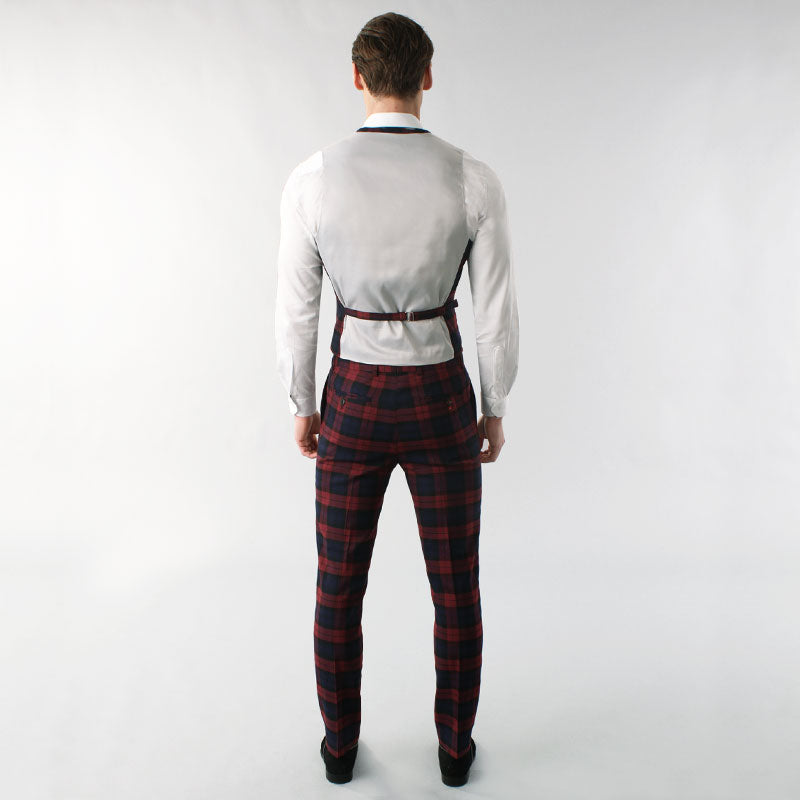 Burgundy Tartan Muscle Fit Suit