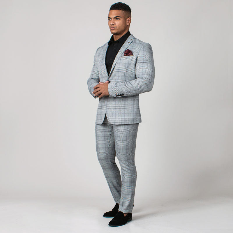 Black & White Prince of Wales Check Muscle Fit Suit