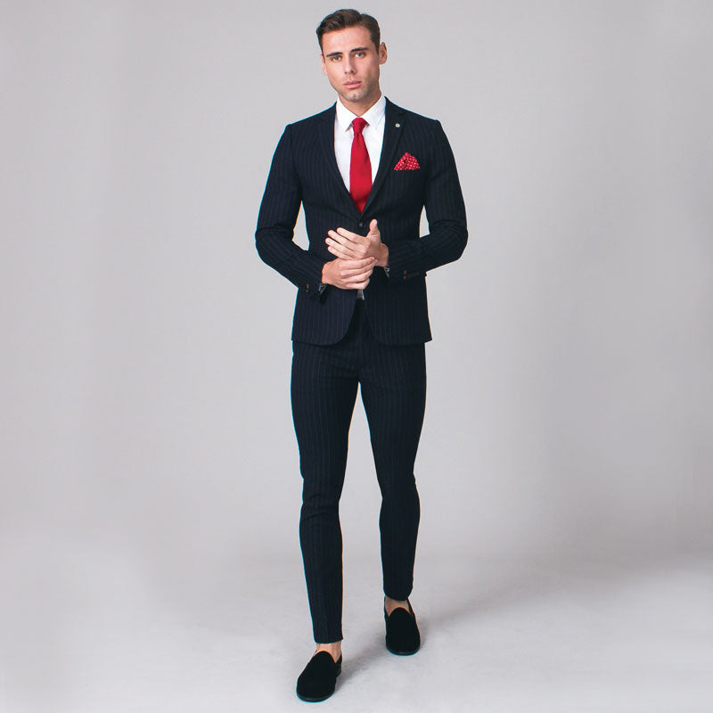Navy Bold Chalk Stripe Skinny Fit Suit