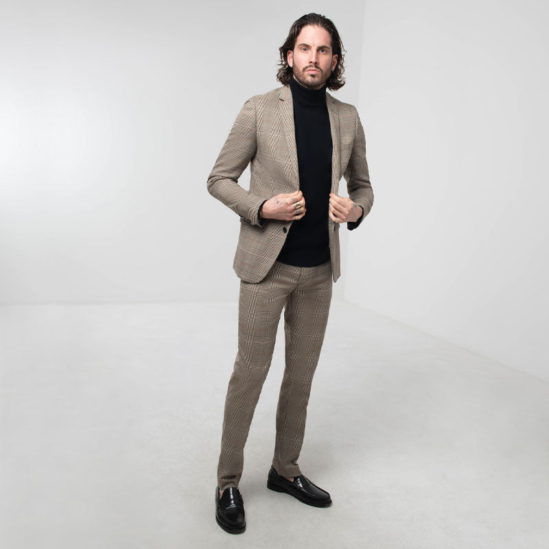 Brown Check Skinny Fit Suit
