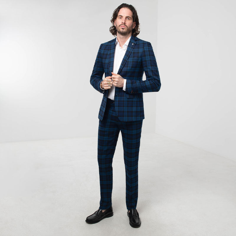 Blue Tartan Check Skinny Fit Suit