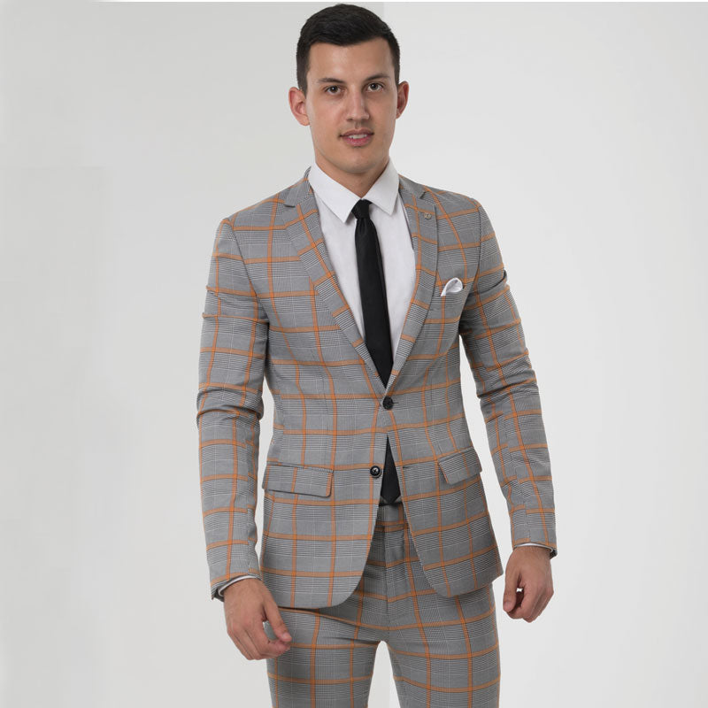 Grey Prince of Wales Check Skinny Fit Suit