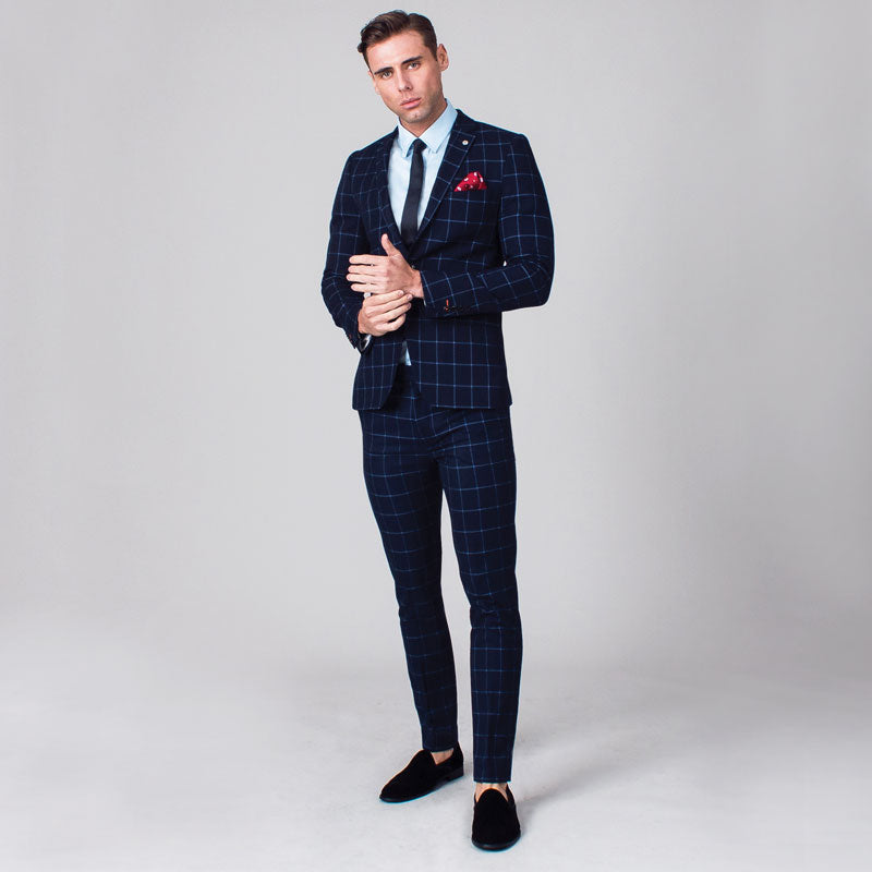 Navy with Light Blue Windowpane Check Skinny Fit Suit