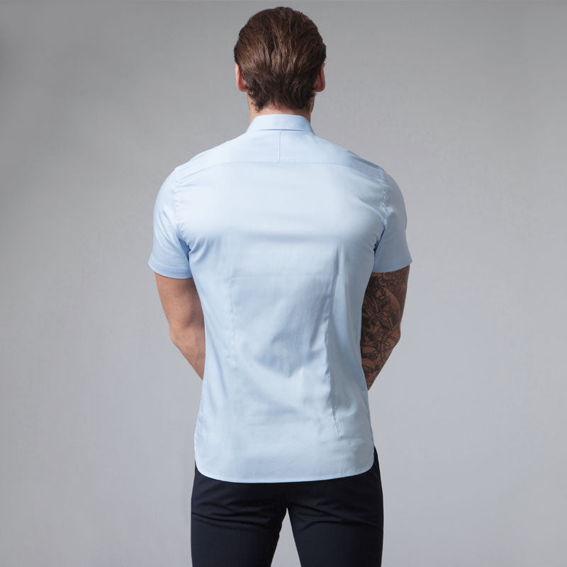 Light Blue Short Sleeve Muscle Fit Shirt