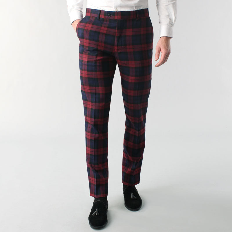 Burgundy Tartan Suit Muscle Fit Trousers