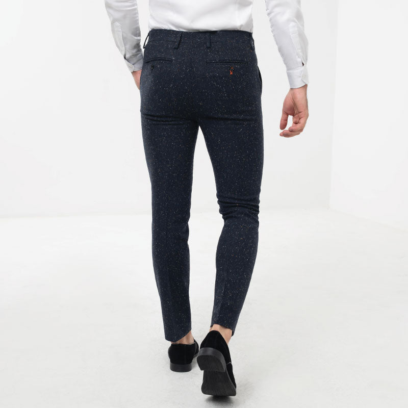 Navy Donegal Tweed Skinny Fit Suit Trousers