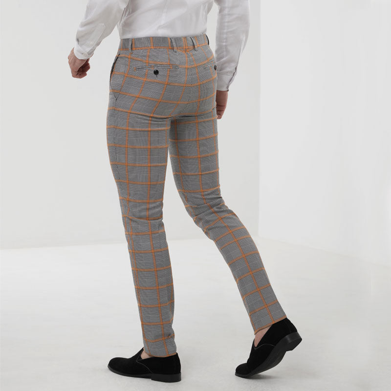 Grey Prince of Wales Check Skinny Fit Suit Trousers