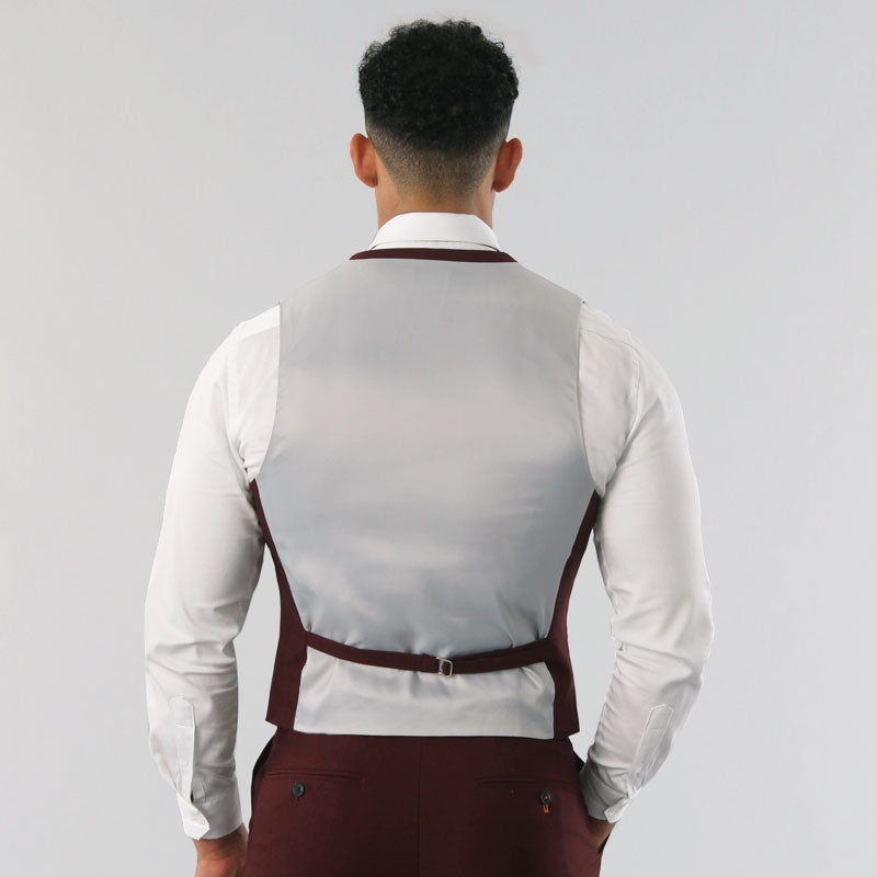 Burgundy Double Breasted Waistcoat