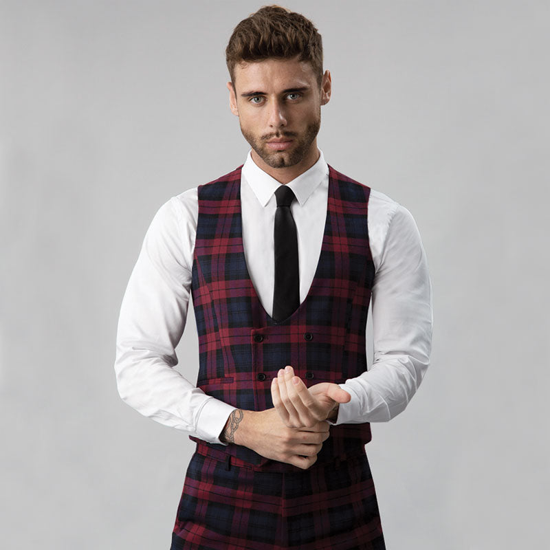 Burgundy Tartan Double Breasted Waistcoat