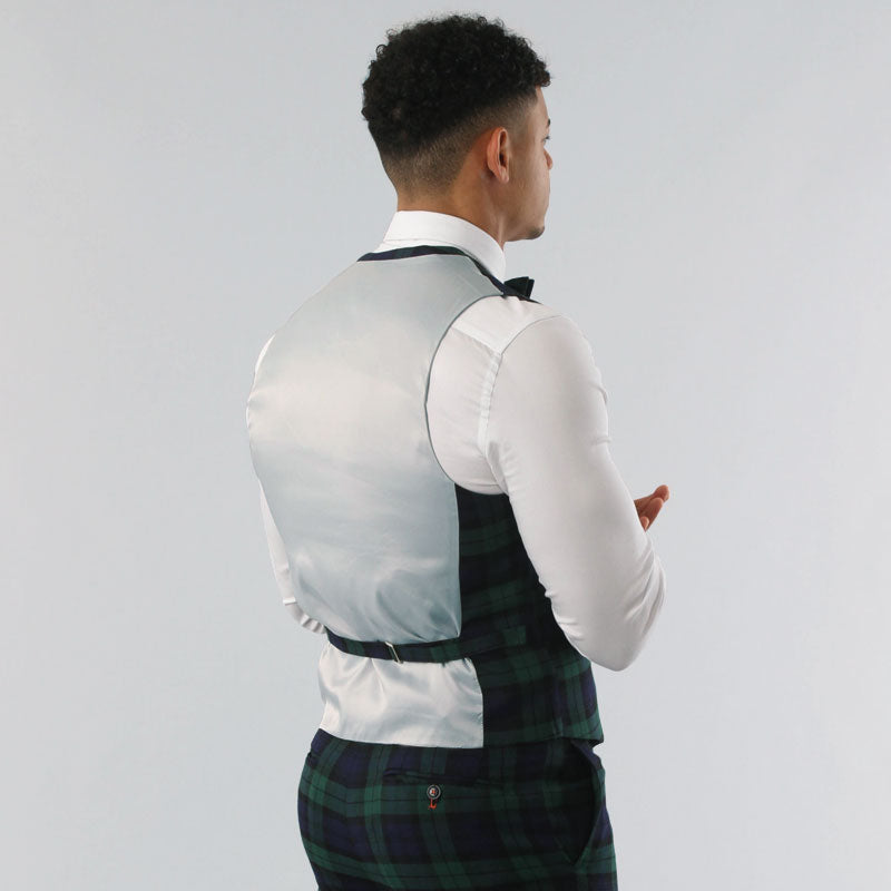 Black Watch Tartan Double Breasted Waistcoat