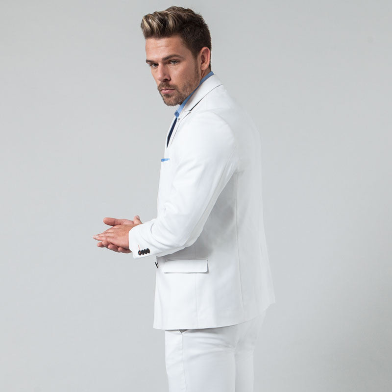 White Double Breasted Slim Fit Blazer