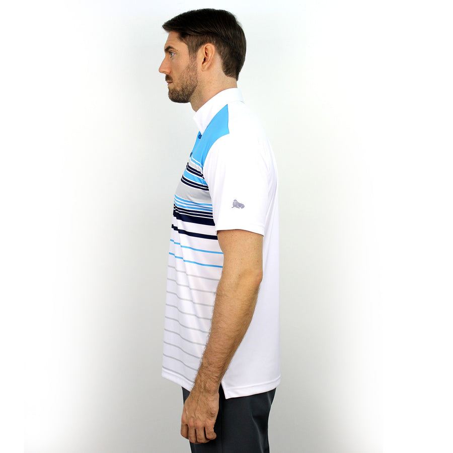 Walrus Frank Colour Stripe Polo Shirt Hawaii Blue