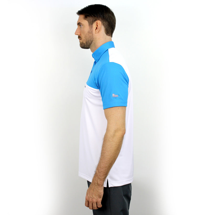Walrus Ken Colour Block Mens Golf Polo Shirt Hawaii Blue