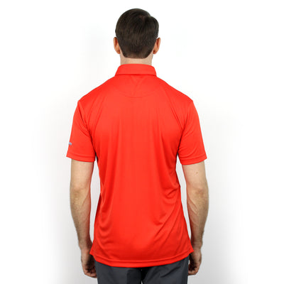 Walrus Benjamin Chest Block Stripe Golf Polo Shirt - Fiesta Red