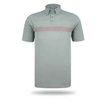 Walrus Apparel Chester Mesh Stripe Mens Golf Polo Shirt - Grey