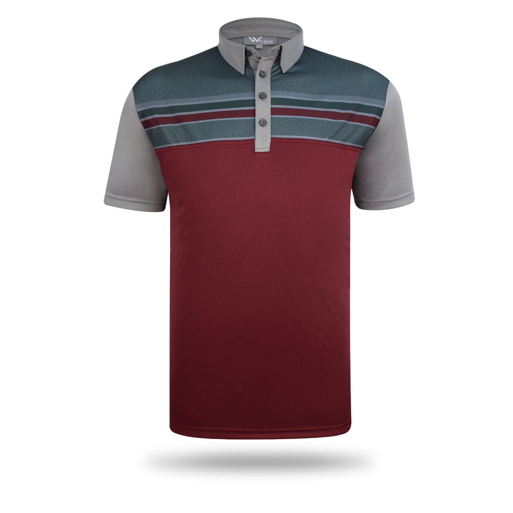 Dixon Block Stripe Mens Golf Polo Shirt - Grey/Dark Red