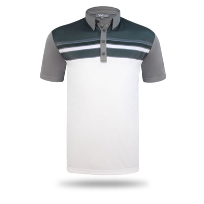 Walrus Apparel Dixon Block Stripe Mens Golf Polo Shirt - Grey/White