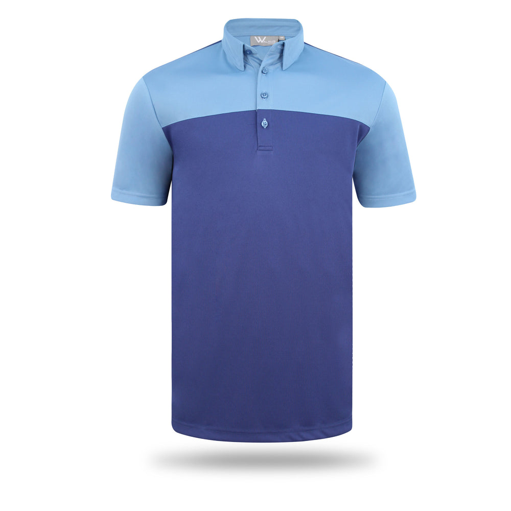 Asher Colourblock Mens Golf Polo Shirt - Navy/Niagra