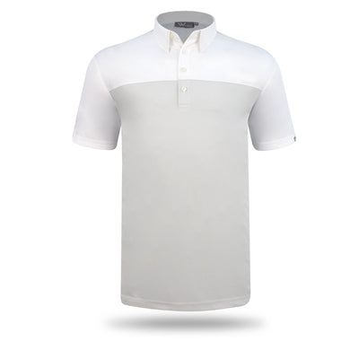 Walrus Asher Colourblock Mens Golf Polo Shirt - Light Grey/White