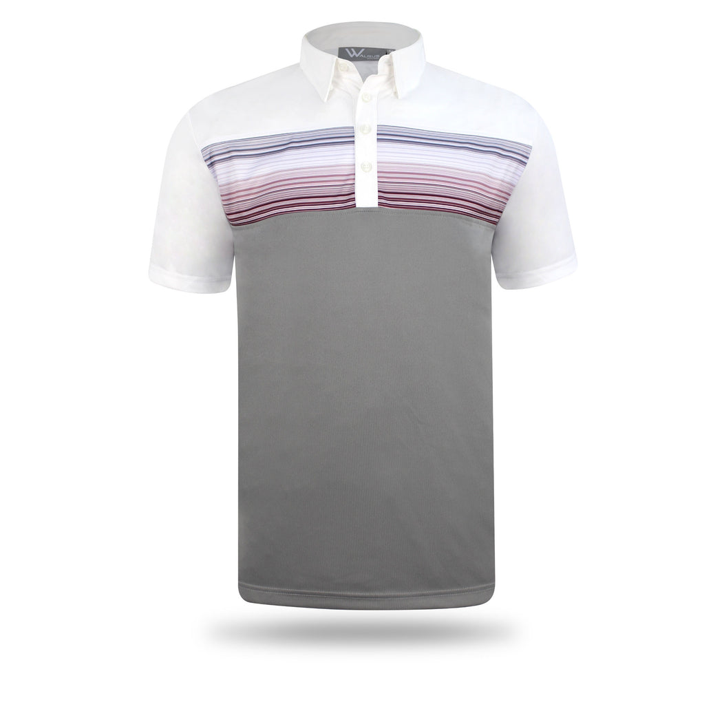 Baxter Chest Stripe Mens Golf Polo Shirt - White/Light Grey