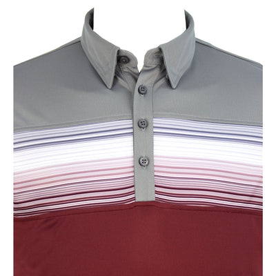 Walrus Apparel Baxter Chest Stripe Mens Golf Polo Shirt - Grey/Dark Red
