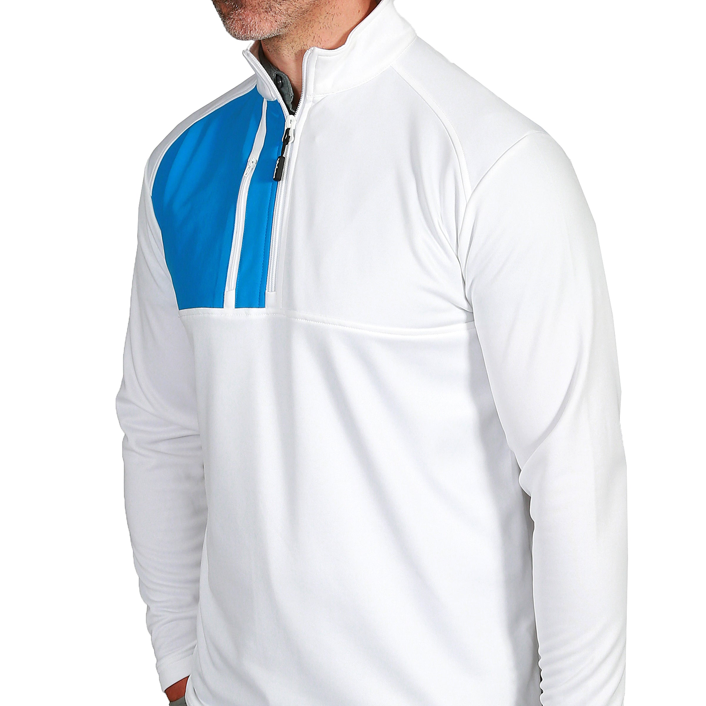 Brody Chest block mens golf midlayer - White by  Walrus Apparel