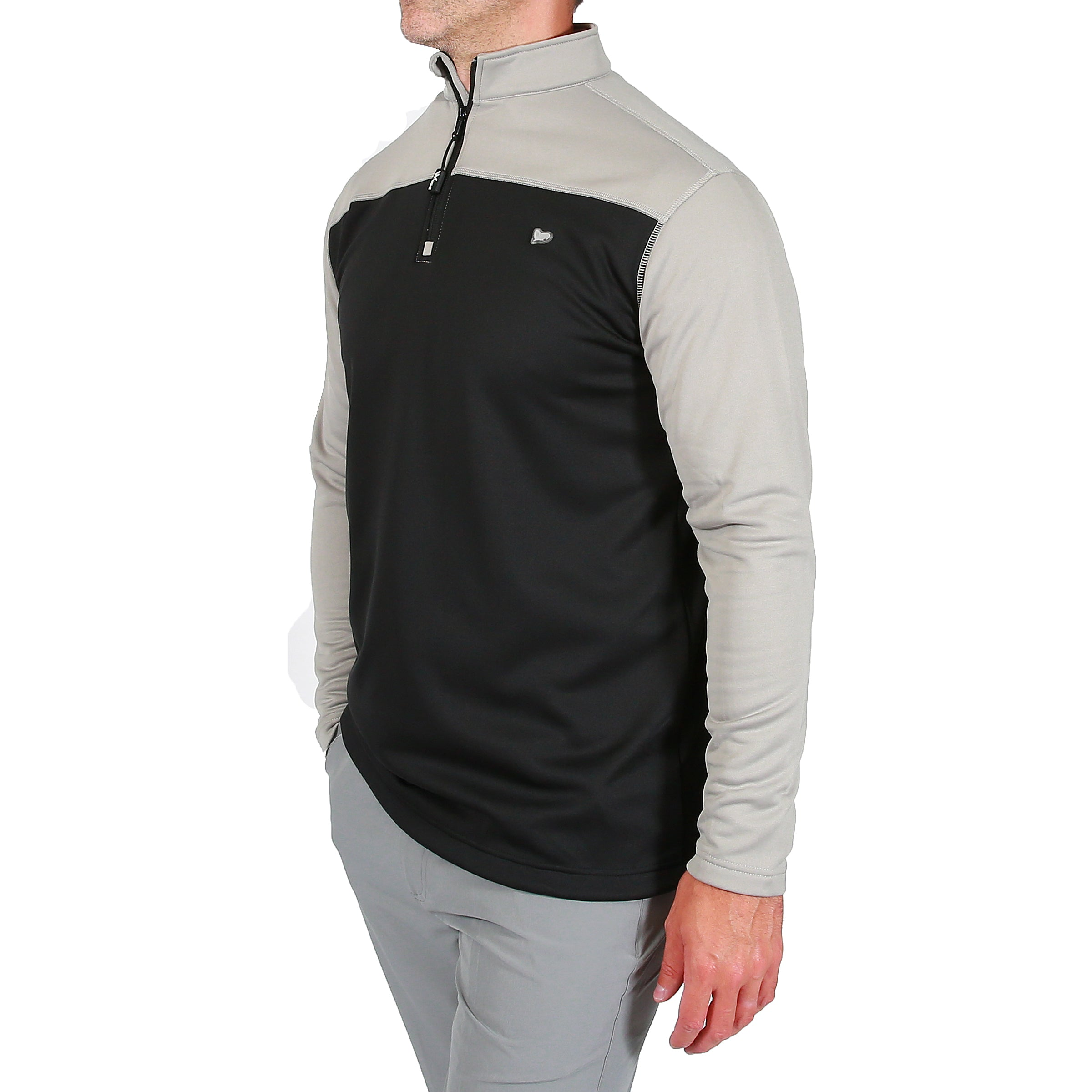 Robert 1/4 Zip Cover Up - Neutral Grey/Black by  Walrus Apparel
