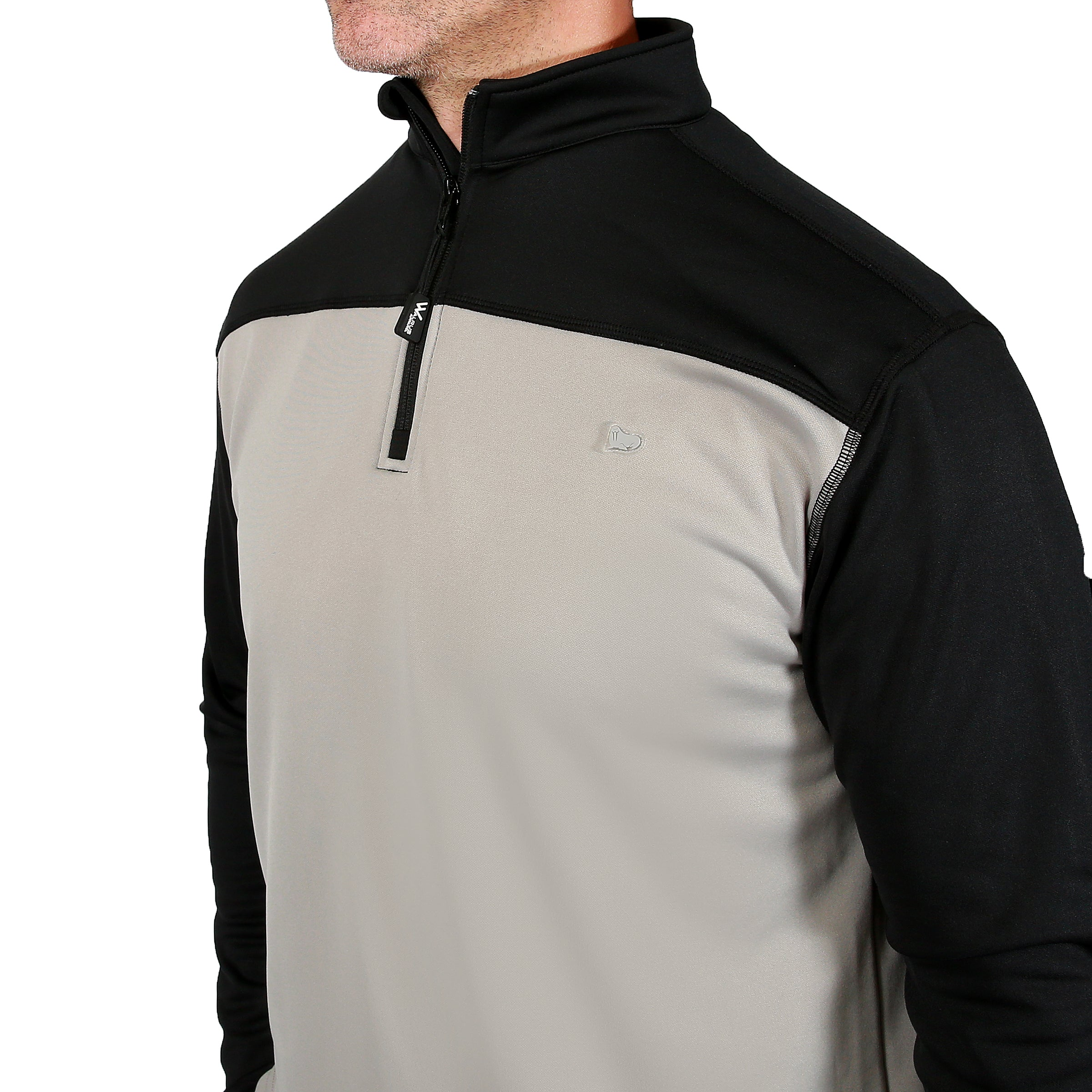 Robert 1/4 Zip Cover Up - Black/Neutral Grey by Walrus Apparel