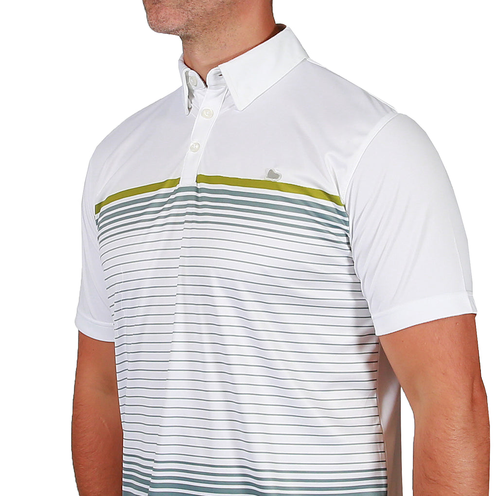 Julian Stripe Mens Golf Polo Shirt - White/Neutral Grey
