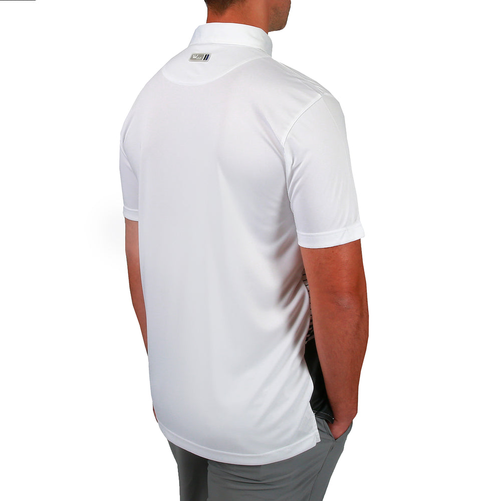 Julian Stripe Mens Golf Polo Shirt - White/Jet Black