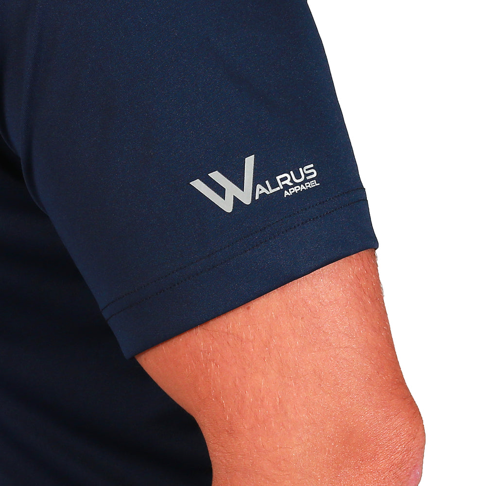 Walrus Maui Floral Tipped Pocket Golf Polo Shirt - Navy