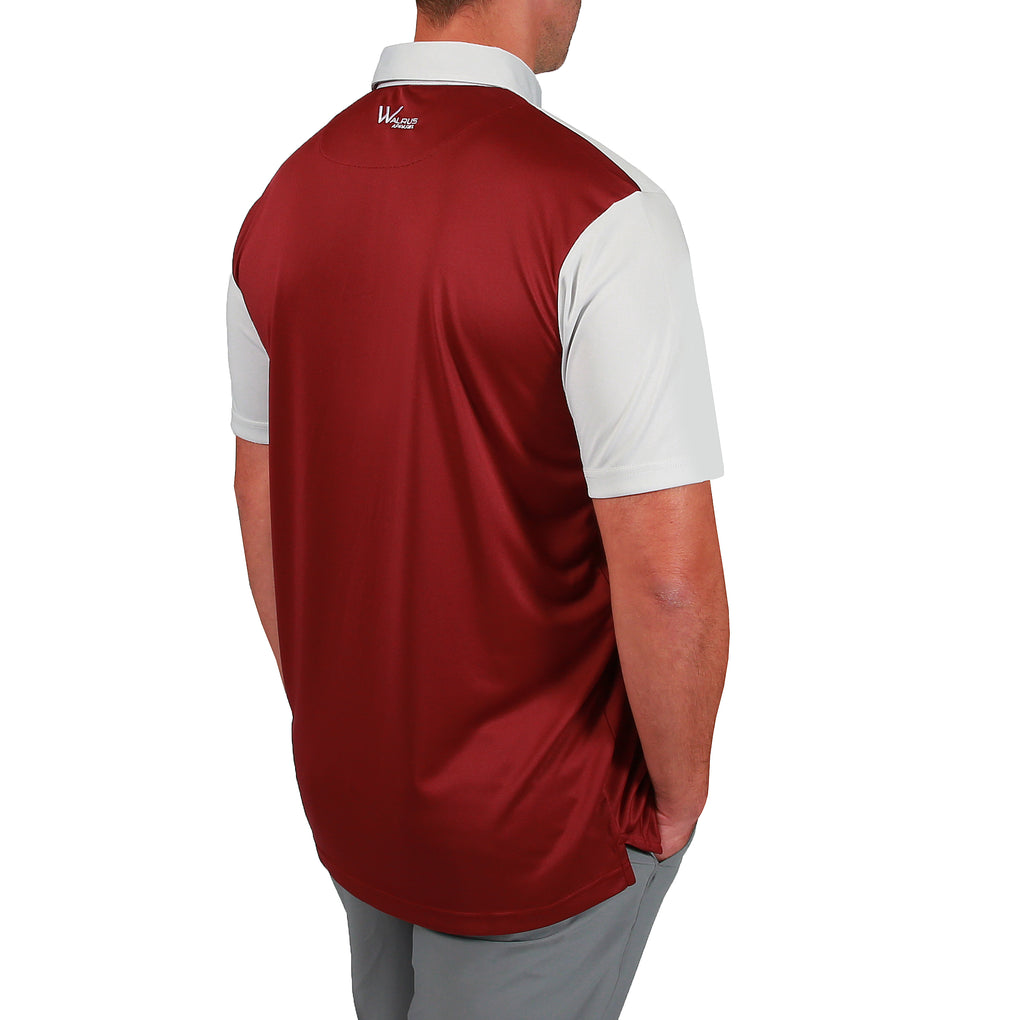 Asher Colourblock Mens Golf Polo Shirt -Dark Red/Light Grey