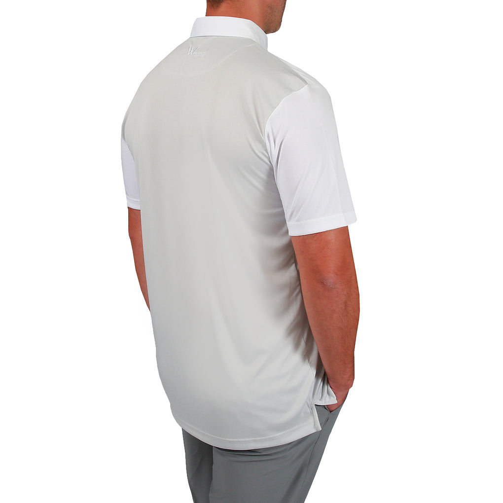 Asher Colourblock Mens Golf Polo Shirt - Light Grey/White