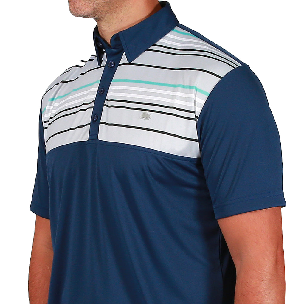 Lucas Chest Stripe Golf Polo Shirt - Navy Peony