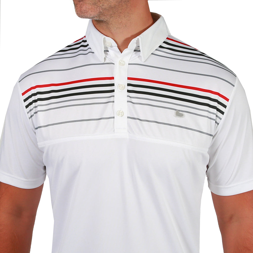 Lucas Chest Stripe Golf Polo Shirt - White
