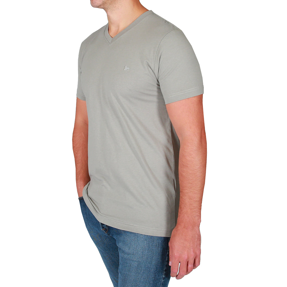 Theo V-Neck Tee Shirt - Neutral Grey